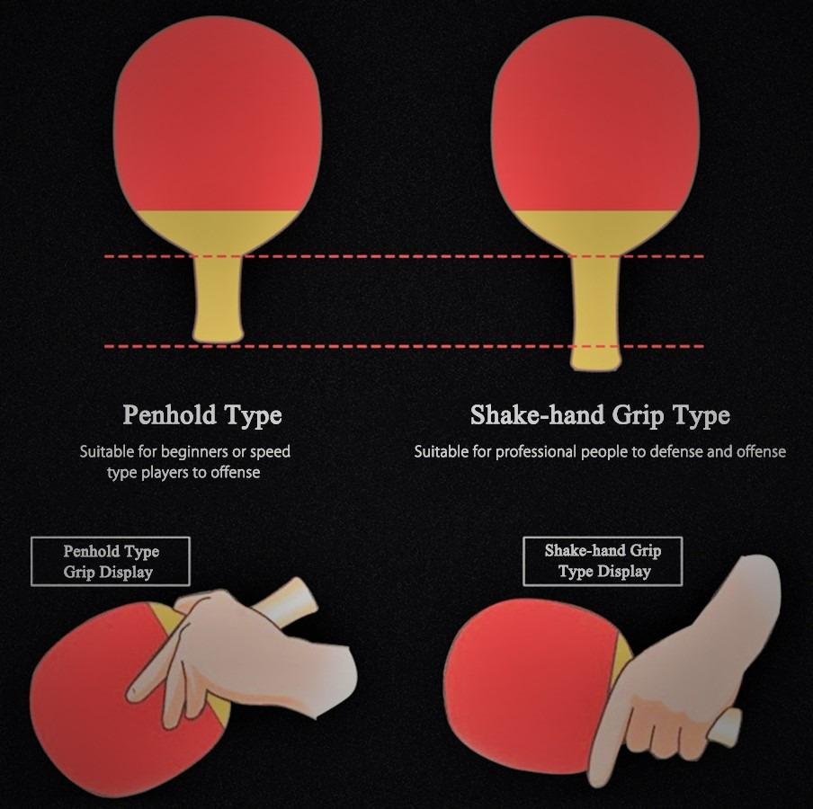 shakehand vs penhold ping pong paddle
